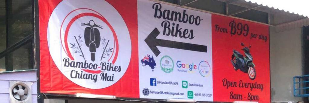 bamboo bikes sign 99 baht a day