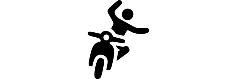 vector image of person falling on scooter